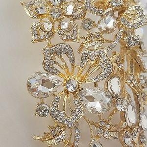NATASHA | Waterfall Crystal Bib Statement Necklace